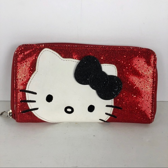 Hello Kitty Handbags - Women s Hello Kitty Red Sparkle Wallet Card Holder db863608ab